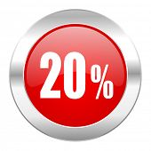 20 percent red circle chrome web icon isolated