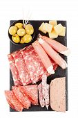 image of charcuterie  - Charcuterie assortment and olives on white background - JPG