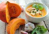 Fresh pumpkins and pumpkin soup