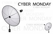 A Satellite Dish Sending A Cyber Monday Sign