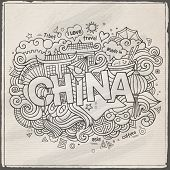 China hand lettering and doodles elements background
