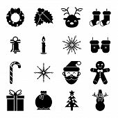 New Year Symbols Christmas Accessories Icons Isolated Silhouette Set Greeting Card Elements Trendy M