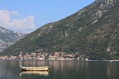 Bay Of Kotor In Montenegro. Fishing Boat In The Morning