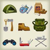 Hike Equipment Icon Set