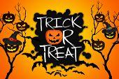 Trick Or Treat Tree Halloween Pumpkins Bats Orange Background