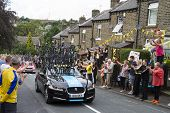 Greetland, England, Jul 06:team Sky Car Driving Up Hullen Edge Lane During The Stage 2 Of Le Tour De