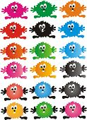 image of color spot black white  - Funny colored spots  with  eyes and hands  on a white background - JPG
