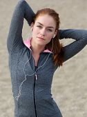 Young Woman Exercise Stretching Outdoors