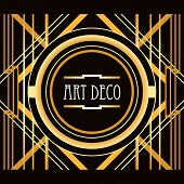 Art Deco style abstract geometric frame in gold with text