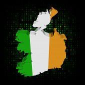 Ireland map flag on hex code illustration
