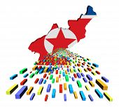 North Korea map flag with containers illustration