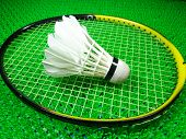 image of shuttlecock  - shuttlecock on a badminton racket on green field - JPG