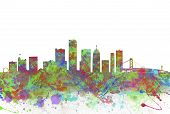 Watercolor Art Print Of The Skyline Of Detroit United States