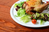 picture of turkey-hen  - The baked hen with salad close up - JPG