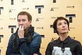 MOSCOW - OCTOBER, 1: Actor Yevgeny Mironov and actress Chulpan Khamatova. Press Conference of International Festival-School 'Territoria' at MMMA. October 1, 2014 in Moscow, Russia