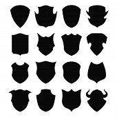 Black and white shield silhouette