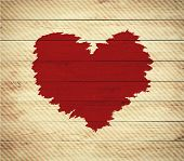 Old wooden background with Valentine's Day symbol,watercolor heart shape.