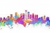Watercolor Art Print Of The Skyline Of Seattle  United States