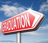 stock photo of graduation  - graduation day graduate and get a diploma on the university high school or college finish your studies road sign get a degree - JPG