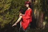 pic of habilis  - In the forest fairy sitting on a rock girl with red wreath of flowers on her head - JPG