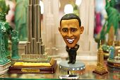 NEW YORK CITY - MARCH 27: Statue of Barak Obama in a gift shop in New York on March 27, 2014