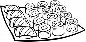Sushi Lunch Cartoon Coloring Page