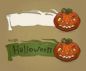 Vector illustration of Halloween pumpkin with ribbon