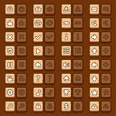 Game menu icons wooden buttons set