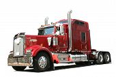picture of tractor trailer  - Red truck - JPG