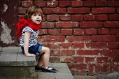 cute little girl on stairway