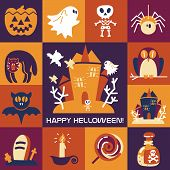 pic of funny ghost  - Halloween symbols collection vector funny flat icons - JPG