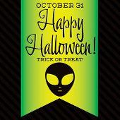 foto of freaky  - Alien Halloween Sash Card In Vector Format - JPG