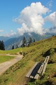 Hiking Trail In The Achensee Area, Wooden Bench.