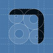 Round engineering font. Symbol 7