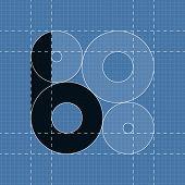 Round engineering font. Symbol B