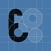 Round engineering font. Symbol E