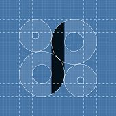 Round engineering font. Symbol I