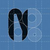 Round engineering font. Symbol N