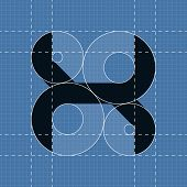 Round engineering font. Symbol X