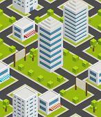Seamless background city. Isometric