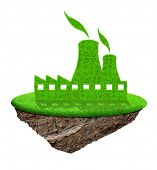 Small island with green Nuclear power plant icon isolated on white