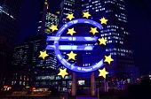 Frankfurt, Germany-February 12 : Euro Sign. European Central Bank (ECB) is the central bank for the euro and administers the monetary policy of the Eurozone. February 12, 2014 in Frankfurt, Germany.