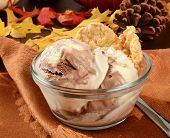 pic of toffee  - A bowl of vanilla ice cream with chocolate and caramel toffee swirls - JPG