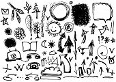 Sketch By Hand. Set Of Drawings In Ink. Symbols, Arrows, Banners