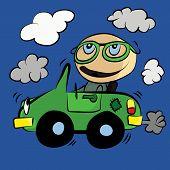 Polluting Environment Car Smog : Cartoon