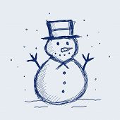 stock photo of snowmen  - vector illustration of a snowman in sketch - JPG
