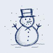 foto of snowman  - vector illustration of a snowman in sketch - JPG