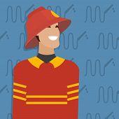 Fireman, occupation. Vector illustration