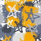 Seamless Pattern With Stars And Spot. Sketch. Gray, Yellow Background
