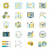 Processing Storage of Large Data Volume Icons Modern Flat Design Template Vector Illustration